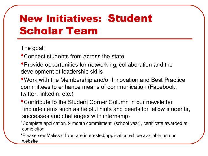 New Initiatives: