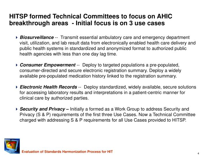 HITSP formed Technical Committees to focus on AHIC breakthrough areas  - Initial focus is on 3 use cases