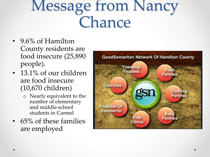 Message from Nancy Chance