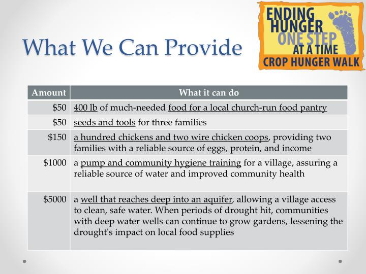 What We Can Provide