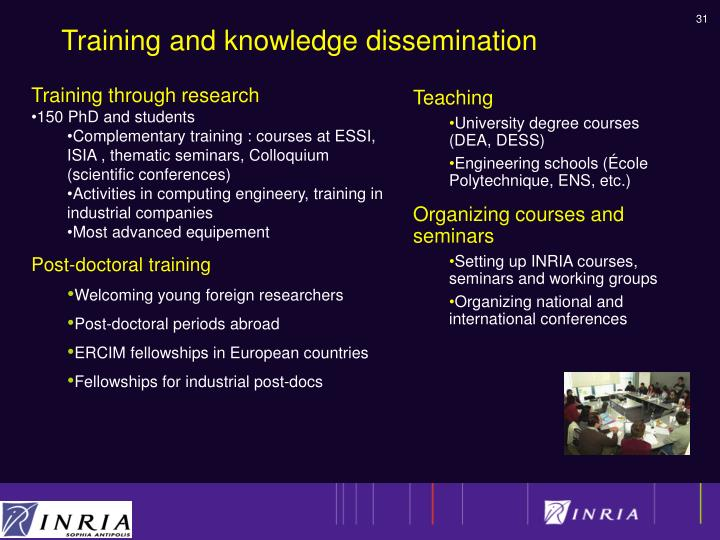 Training and knowledge dissemination