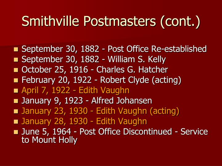 Smithville Postmasters (cont.)