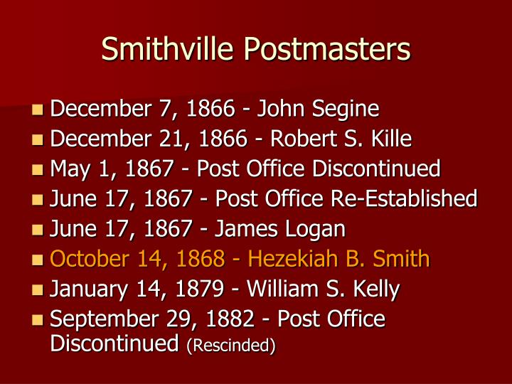 Smithville Postmasters