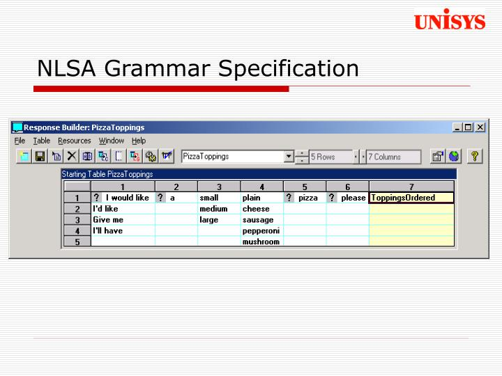 NLSA Grammar Specification