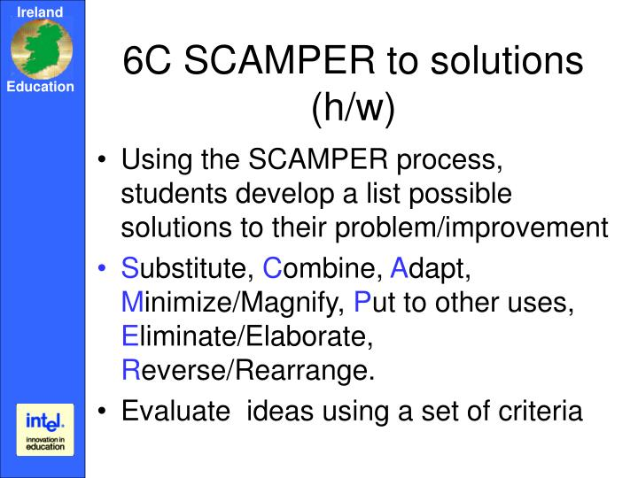 6C SCAMPER to solutions (h/w)