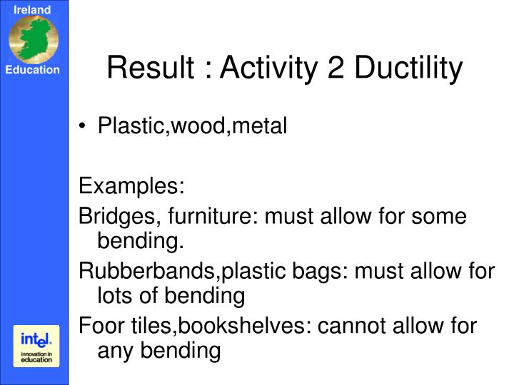 Result : Activity 2 Ductility
