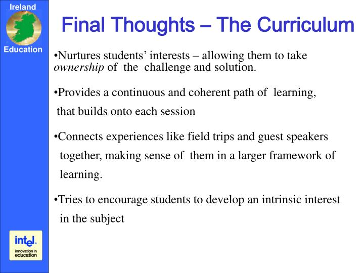 Final Thoughts – The Curriculum