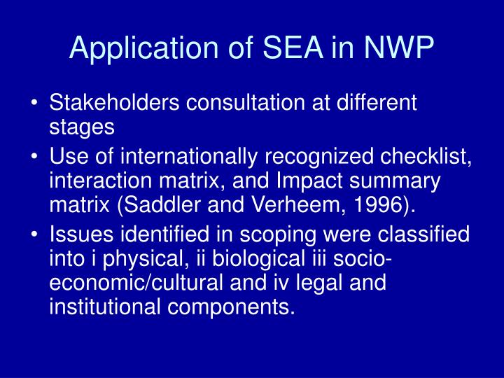 Application of SEA in NWP
