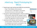 mbed org rapid prototyping for mcus