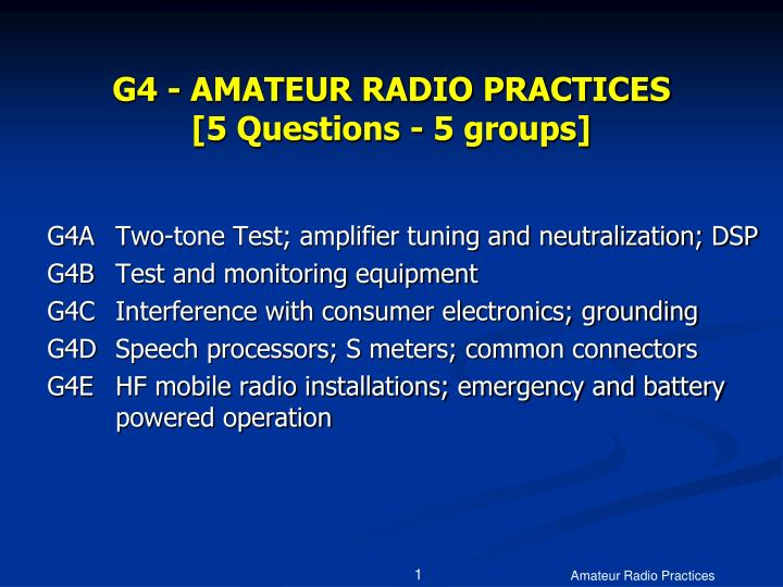 g4 amateur radio practices 5 questions 5 groups n.