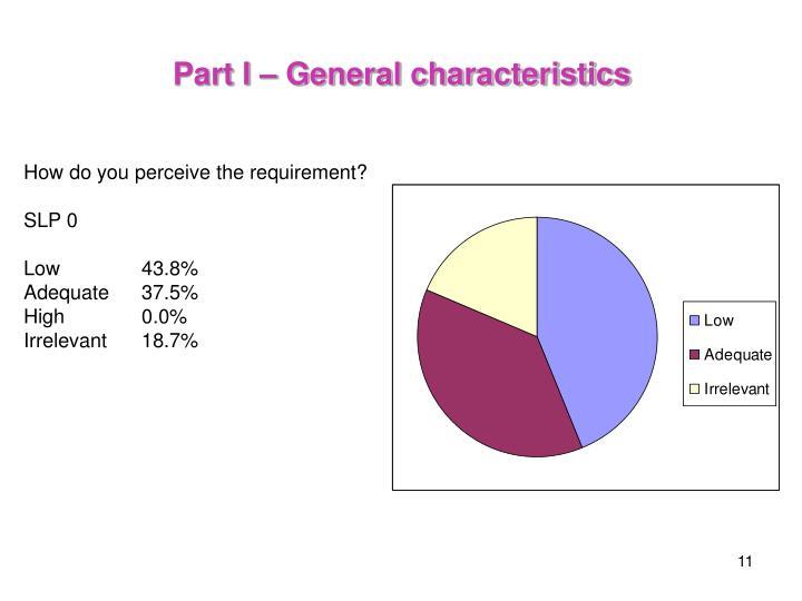 Part I – General characteristics