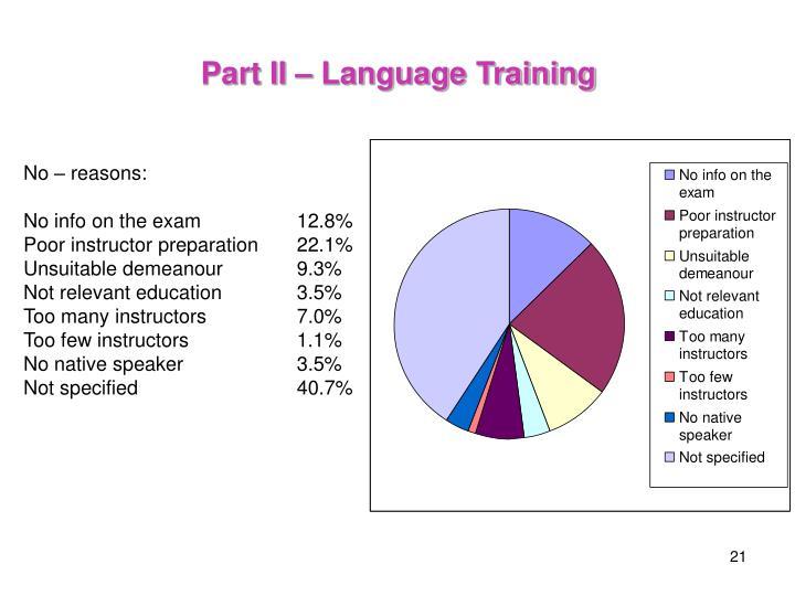 Part II – Language Training