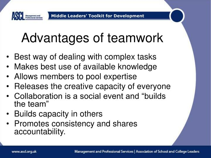 advantages of teamwork essays Advantages and disadvantages of teamwork and team tasks introduction preston m ward uvu  all advantages of teamwork essays and term papers.
