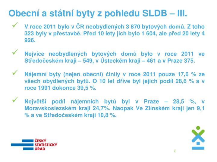 Obecní a státní byty z pohledu SLDB – III.