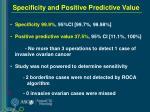 specificity and positive predictive value