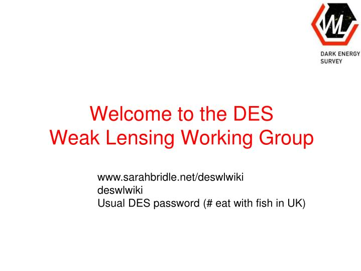 welcome to the des weak lensing working group n.