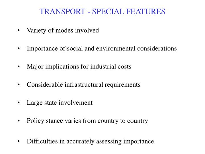 transport special features