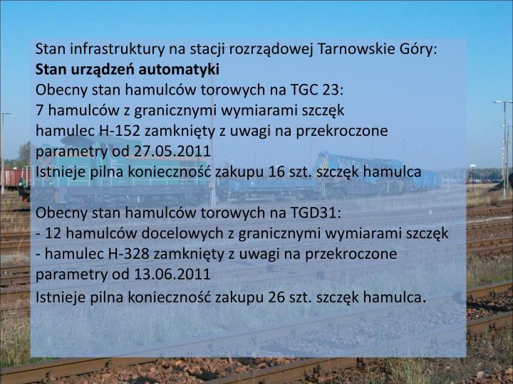 Stan infrastruktury na stacji rozrządowej Tarnowskie Góry:
