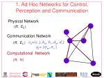 1 ad hoc networks for control perception and communication