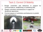 task 2 control of mobility