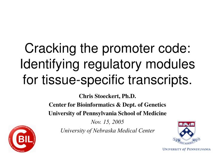 cracking the promoter code identifying regulatory modules for tissue specific transcripts n.