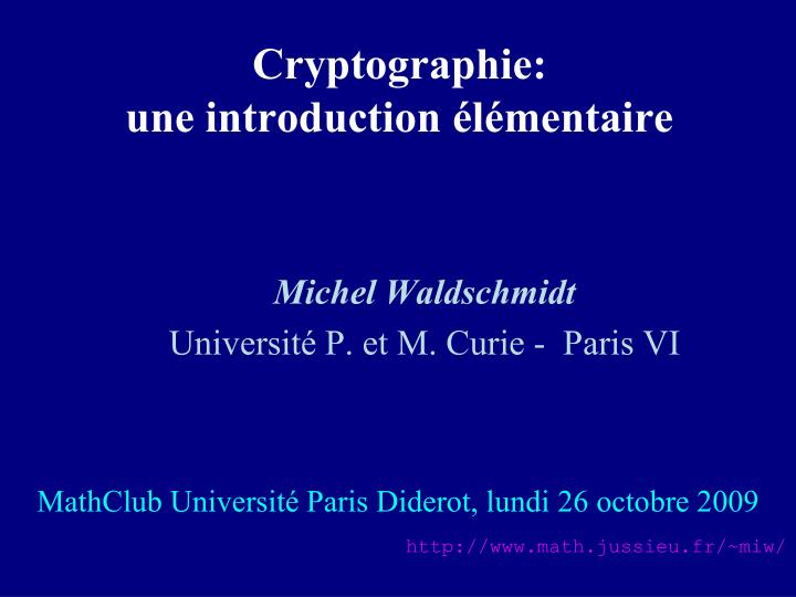 cryptographie une introduction l mentaire n.