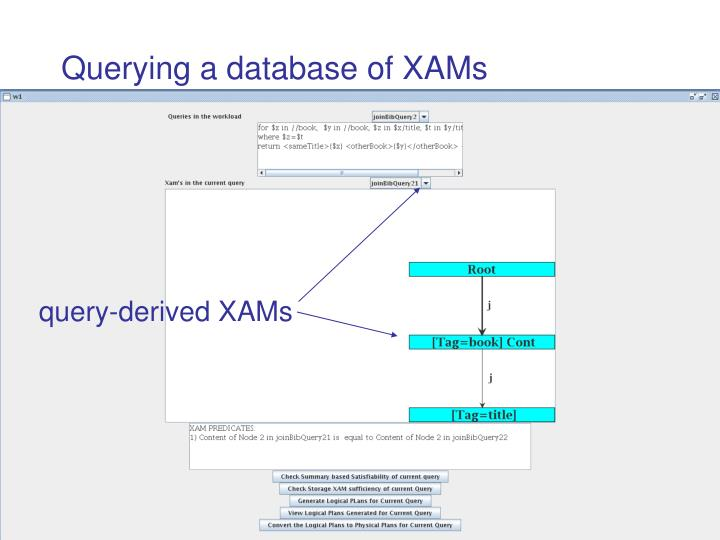 Querying a database of XAMs