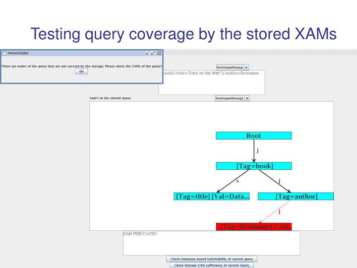 Testing query coverage by the stored XAMs