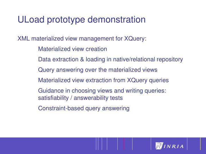Uload prototype demonstration