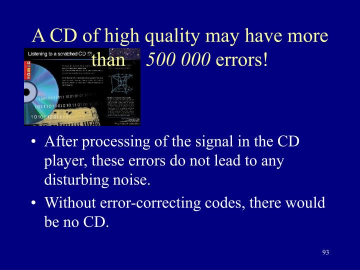 A CD of high quality may have more than