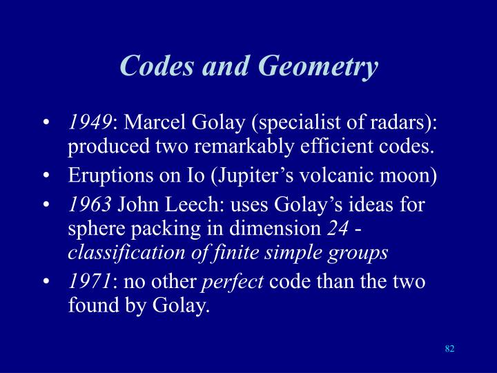 Codes and Geometry