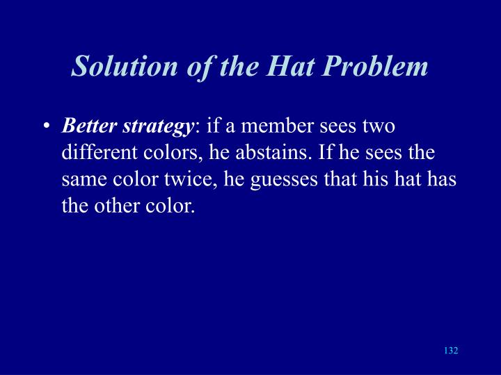 Solution of the Hat Problem