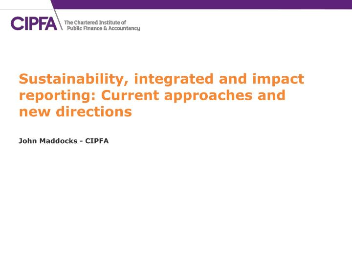 sustainability integrated and impact reporting current approaches and new directions n.