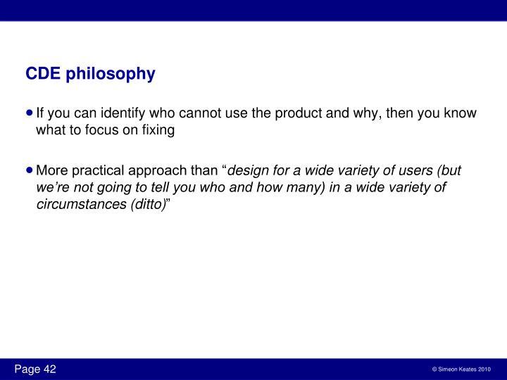 CDE philosophy