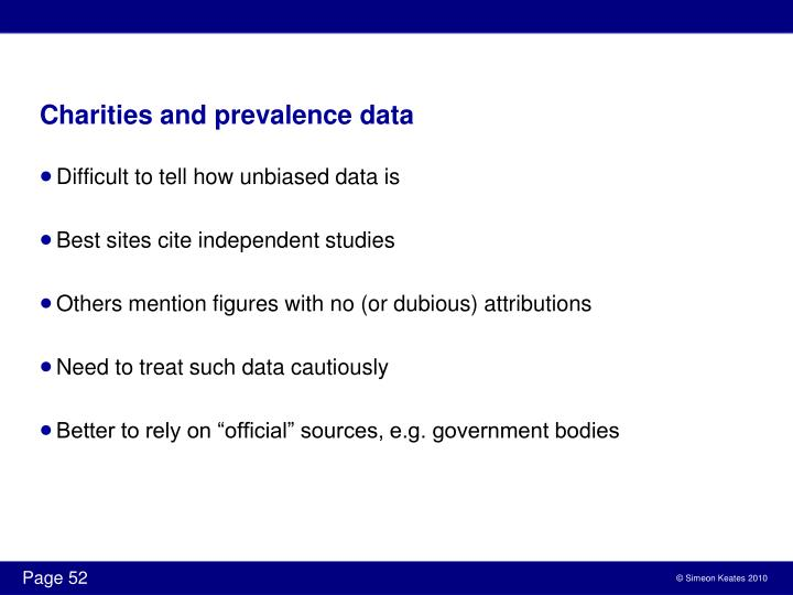 Charities and prevalence data