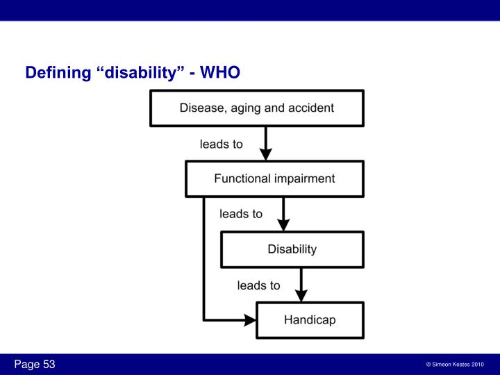 """Defining """"disability"""" - WHO"""