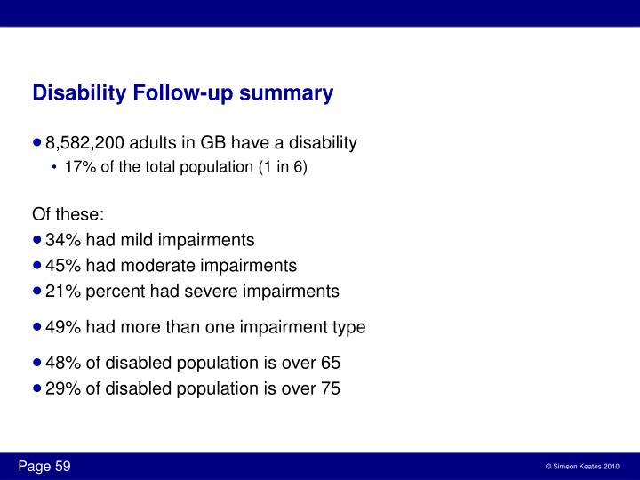 Disability Follow-up summary