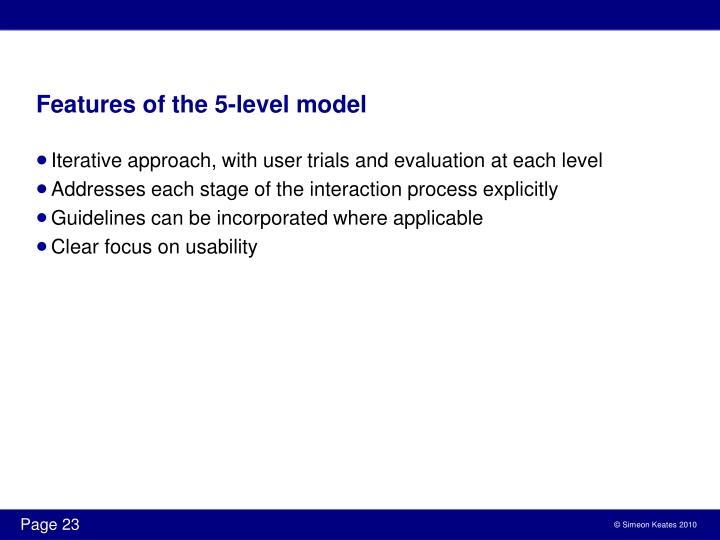 Features of the 5-level model