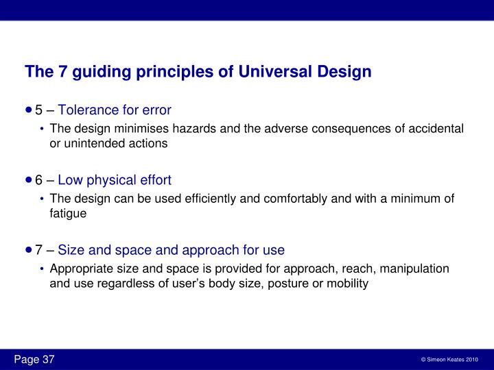 The 7 guiding principles of Universal Design