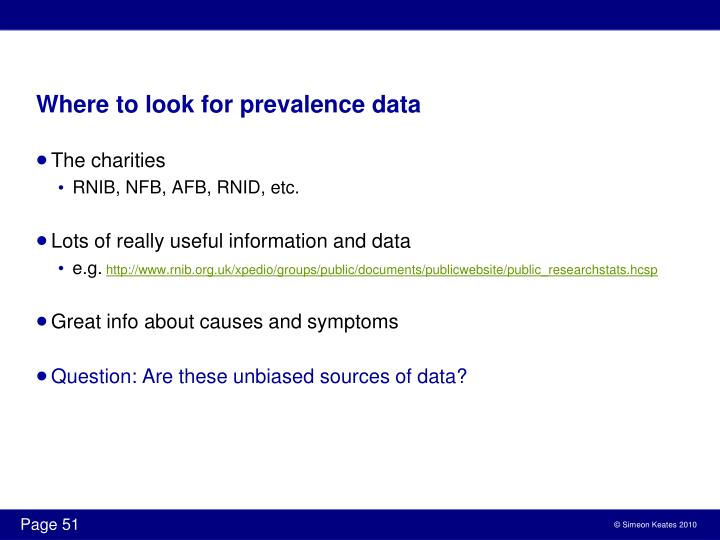 Where to look for prevalence data