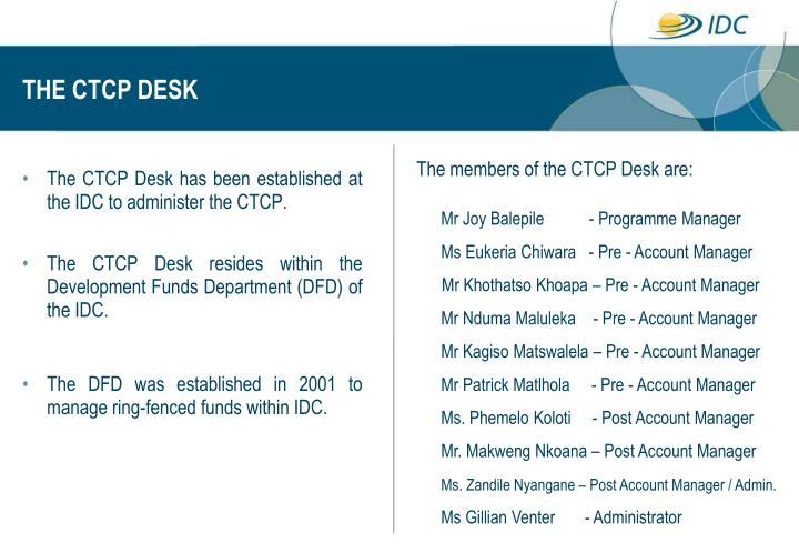 THE CTCP DESK