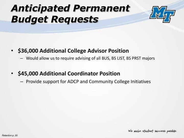 Anticipated Permanent Budget Requests