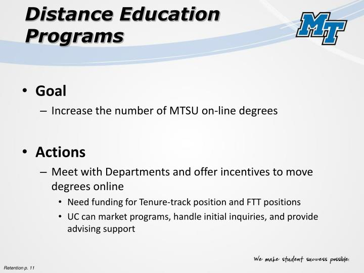 Distance Education Programs