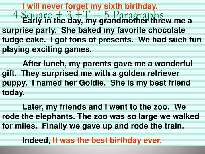 I will never forget my sixth birthday.
