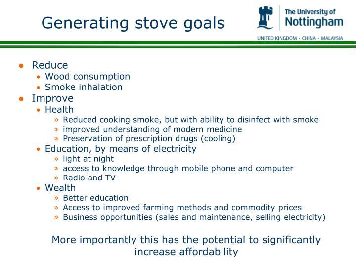 Generating stove goals
