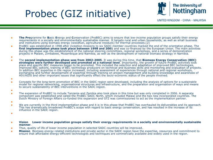 Probec (GIZ initiative)