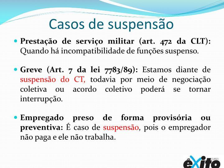 Casos de suspensão