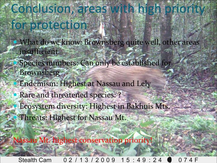 Conclusion, areas with high priority for protection