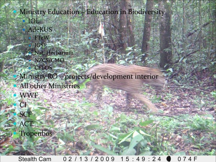 Ministry Education – Education in Biodiversity