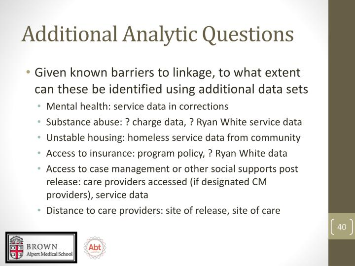 Additional Analytic Questions